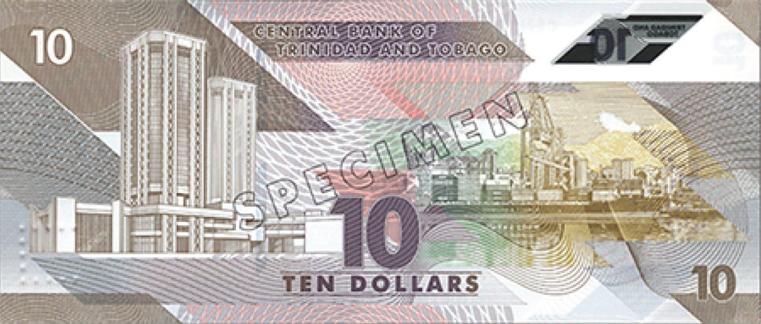 Тринидад и Тобаго банктона 10 долларов, 2020 года, оборотная сторона