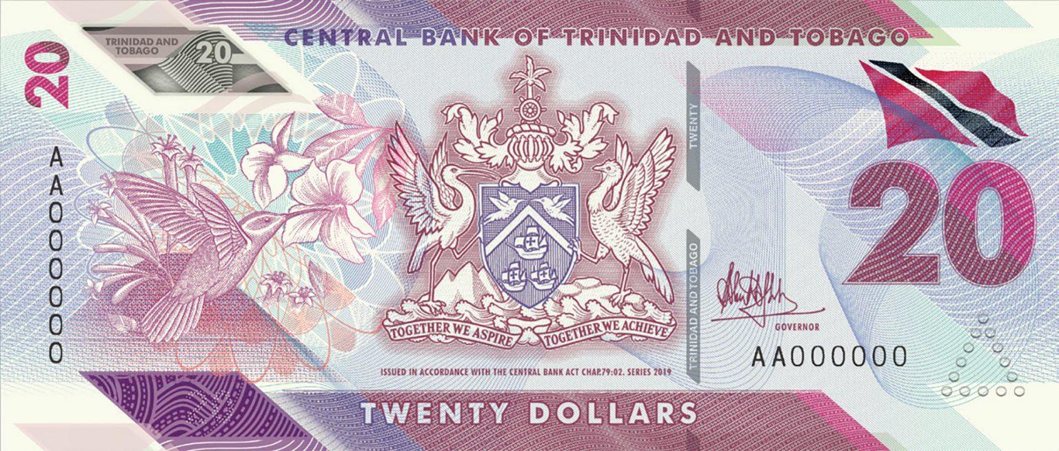 Тринидад и Тобаго банктона 20 долларов, 2020 года, лицевая сторона
