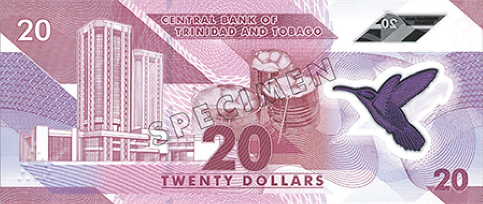 Тринидад и Тобаго банктона 20 долларов, 2020 года, оборотная сторона