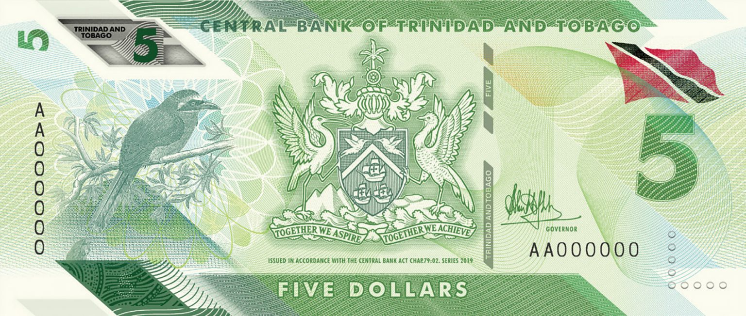 Тринидад и Тобаго банктона 5 долларов, 2020 года, лицевая сторона