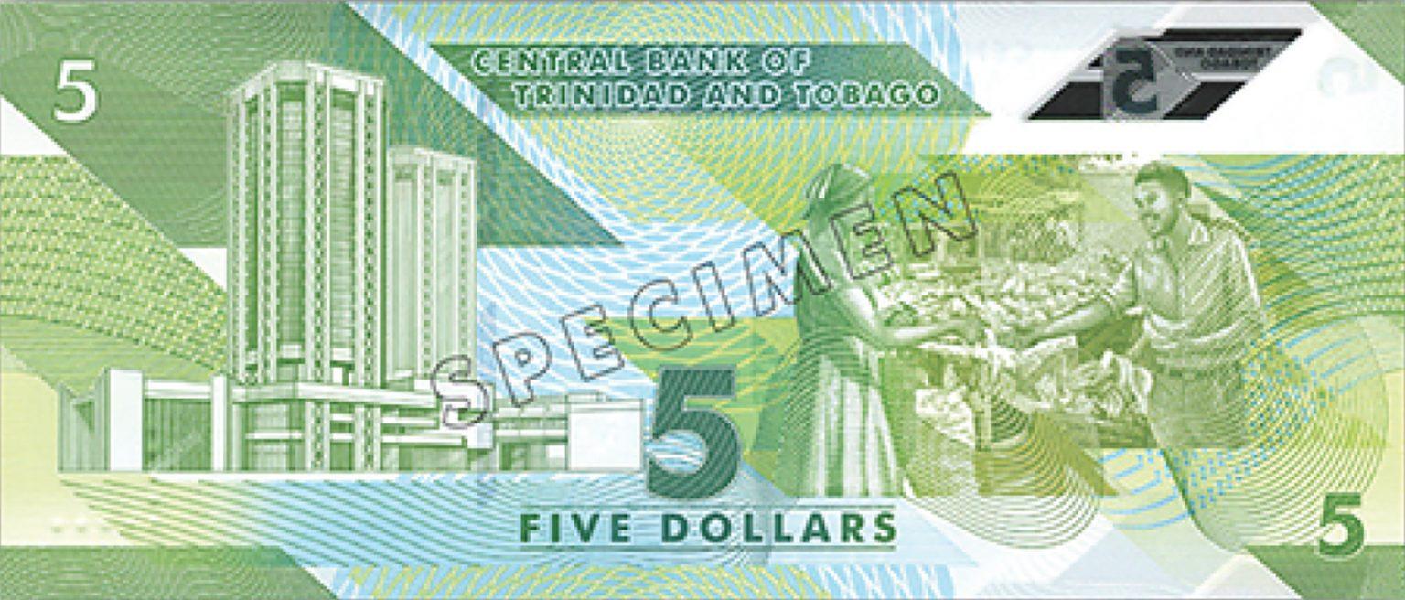 Тринидад и Тобаго банктона 5 долларов, 2020 года, оборотная сторона