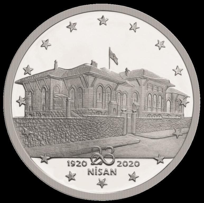 Турция монета 20 лир к 100-летию открытия Великого национального собрания Турции, реверс
