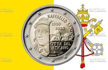 Ватикан монета 2 евро 500-летие со дня смерти художника Рафаэля