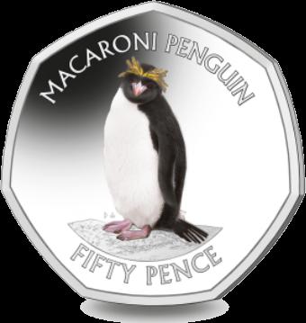 Южная Джорджия и Южные Сандвичевы острова монета 50 пенсов Золотоволосый пингвин, реверс