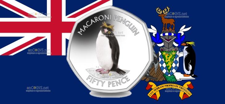 Южная Джорджия и Южные Сандвичевы острова монета 50 пенсов Золотоволосый пингвин