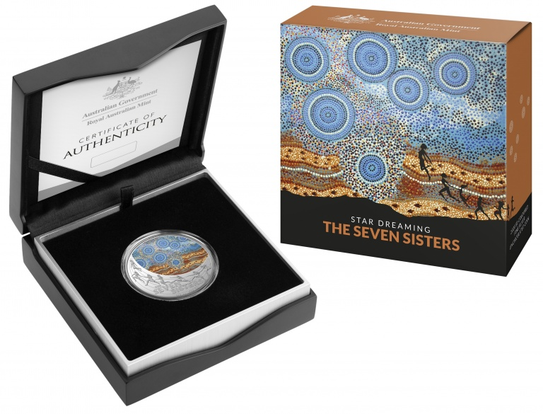 Австралия монета 1 доллар Созвездие семи сестер, подарочная упаковка