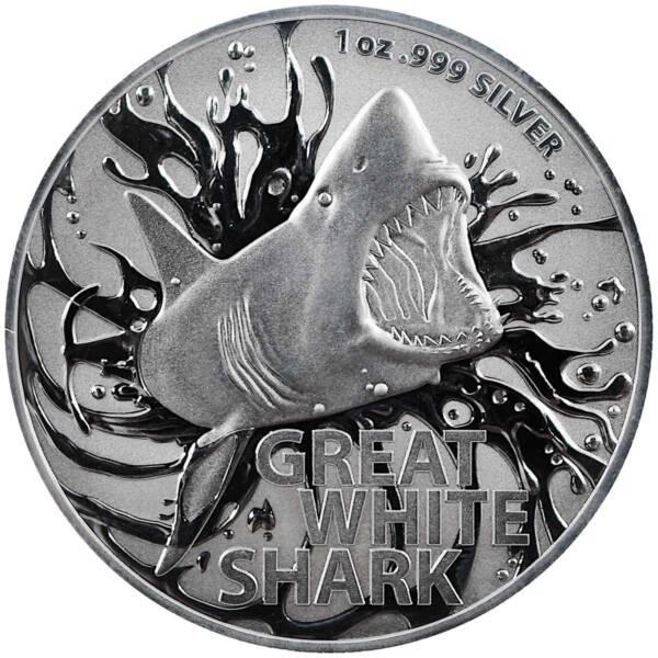 Австралия монета 1 доллар Большая белая акула, реверс