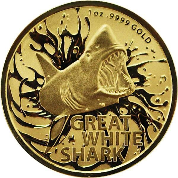 Австралия монета 100 долларов Большая белая акула, реверс