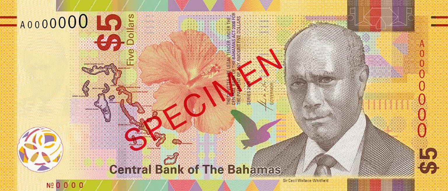 Банкнота 5 долларов Багамские острова, лицевая сторона