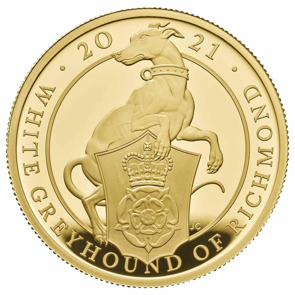 Британии монета 100 фунта Белая Борзая Ричмонда, реверс