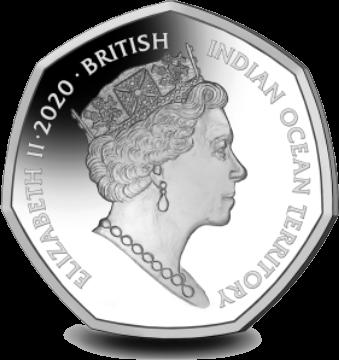 Британские территории в Индийском океане монета 50 пенсов Катти Сарк, аверс