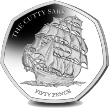 Британские территории в Индийском океане монета 50 пенсов Катти Сарк, реверс