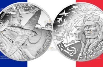 Франция монета 10 евро Спитфайр