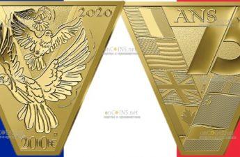 Франция монета 200 евро Победа Мира