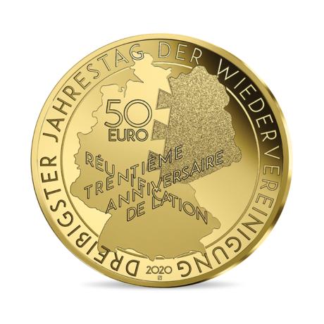 Франция монета 50 евро Миттеран - Коль, аверс