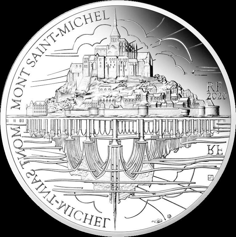 Франция монета 10 евро Гора Сен-Мишель, реверс