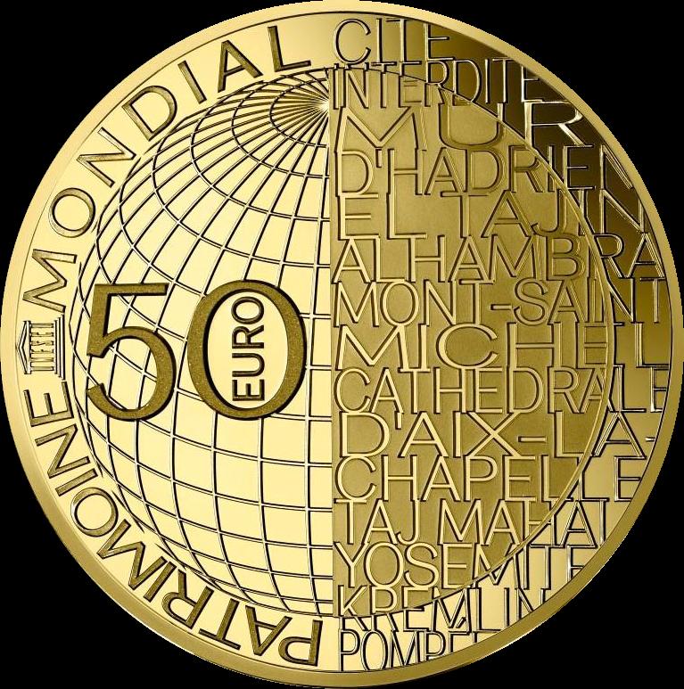 Франция монета 50 евро Гора Сен-Мишель, аверс