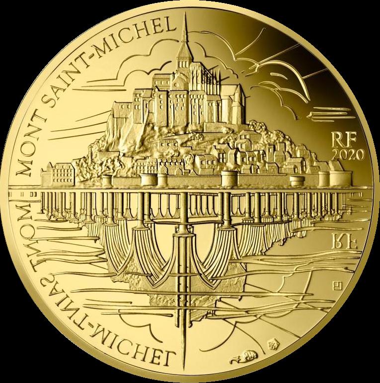 Франция монета 50 евро Гора Сен-Мишель, реверс