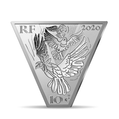 Франция выпускает в обращение монету 10 евро Победа Мира, реверс