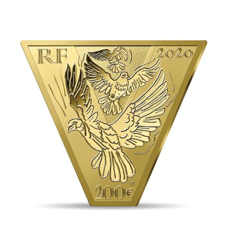 Франция выпускает в обращение монету 200 евро Победа Мира, реверс