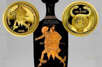 Греция монета 100 евро Гермес