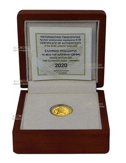 Греция монета 100 евро Гермес, подарочная упаковка