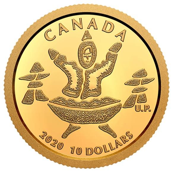 Канада монета 10 долларов Инук и Куллик, реверс