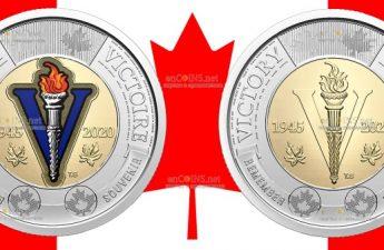 Канада монета 2 доллара 75-летие окончания Второй мировой войны