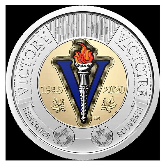 Канада монета 2 доллара 75-летие окончания Второй мировой войны, цвет, реверс