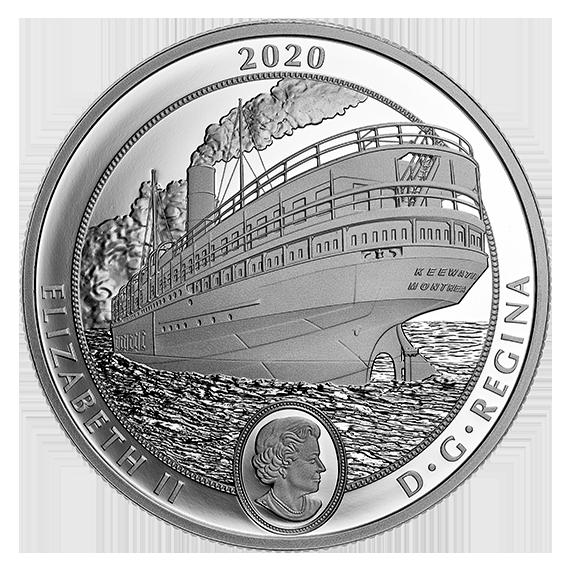 Канада монета 30 долларов пароход Киватин, аверс