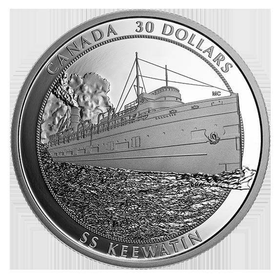 Канада монета 30 долларов пароход Киватин, реверс