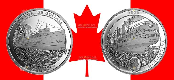 Канада монета 30 долларов пароход Киватин