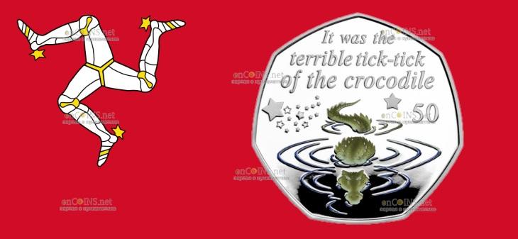 Остров Мэн монета 50 пенсов Крокодил Тик-Так