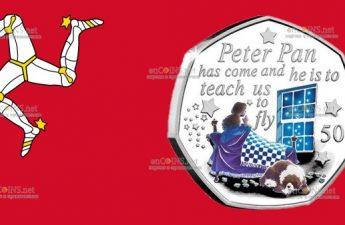 Остров Мэн монета 50 пенсов Питер Пэн пришел