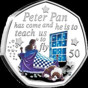 Остров Мэн монета 50 пенсов Питер Пэн пришел, реверс