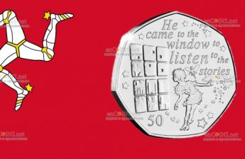 Остров Мэн монета 50 пенсов Питер Пэн у окна
