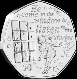 Остров Мэн монета 50 пенсов Питер Пэн у окна, реверс