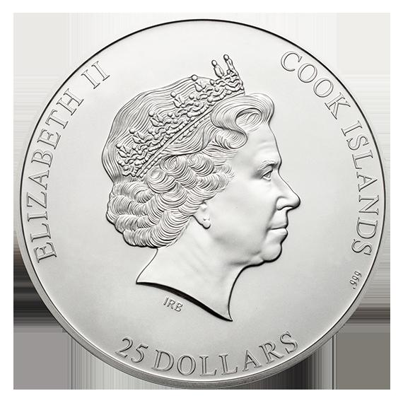 Острова Кука монета 25 долларов - Пирамида Карстенса, аверс