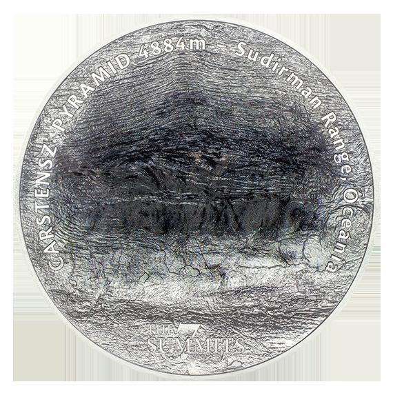 Острова Кука монета 25 долларов - Пирамида Карстенса, реверс