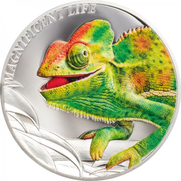 Острова Кука монета 5 долларов Хамелеон, реверс