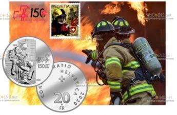 Швейцария монета 20 франков 150-летие образования Швейцарской ассоциации пожарных команд