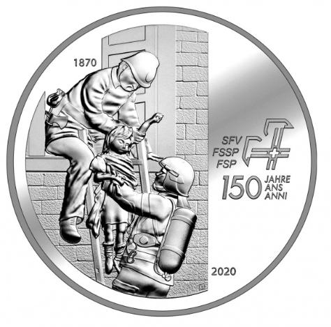 Швейцария монета 20 франков 150-летие образования Швейцарской ассоциации пожарных команд, реверс