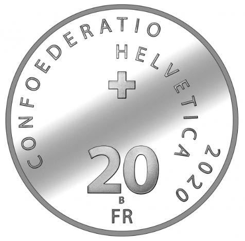 Швейцария монета 20 франков 2020 год, аверс
