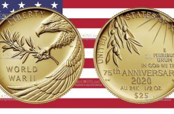 США монета 25 долларов 75 лет окончания Второй Мировой войны