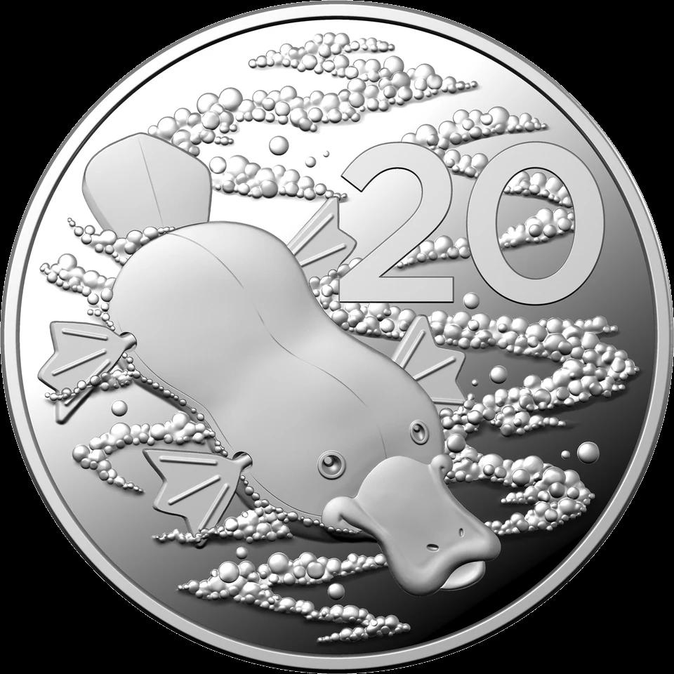 Австралия монета 20 центов Утконос, реверс