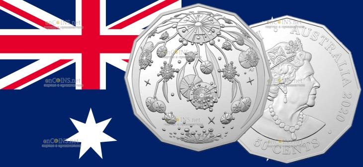Австралия монета 50 центов Рождественская монета