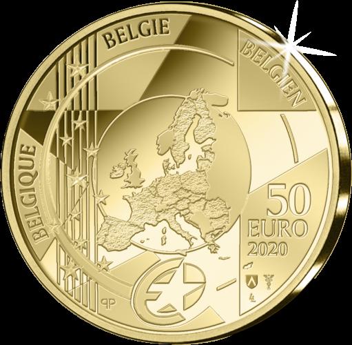 Бельгия монета 50 евро Готика - Ян ван Эйк, аверс