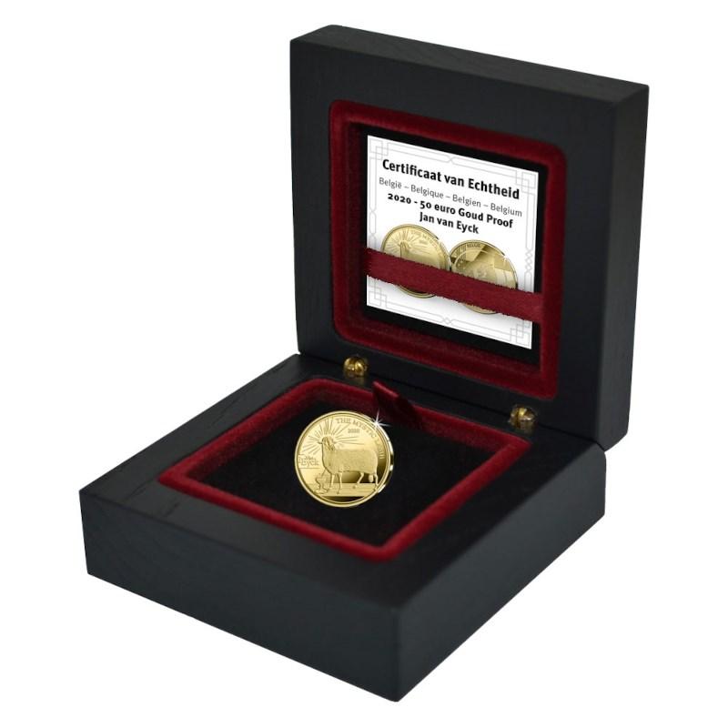 Бельгия монетау 50 евро Готика - Ян ван Эйк, подарочная упаковка