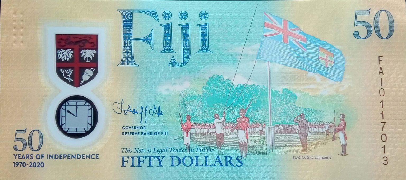 Фиджи банкнота 50 долларов в честь 50-летия независимости страны, лицевая сторона