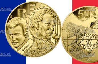 Франция монета 50 евро Джонни Холлидей
